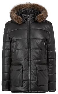 утепленная кожаная куртка с мехом енота Jorg Weber