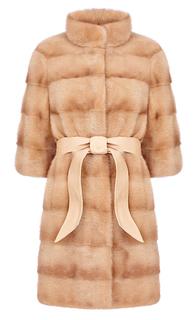 Норковая шуба  с горизонтальной раскладкой меха и широким кожаным поясом Flaumfeder