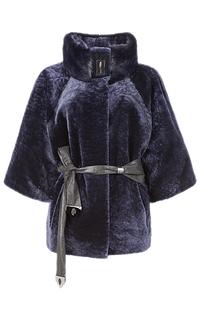 Жакет из овчины с отделкой мехом норки и кожаным поясом Снежная Королева