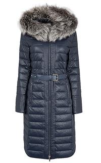 Пальто из экокожи на натуральном пуху с отделкой мехом лисы La Reine Blanche