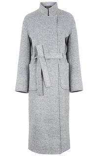 Длинное пальто с поясом Pompa