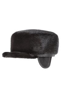 Шапка из меха норки и натуральной кожи Polina Furs