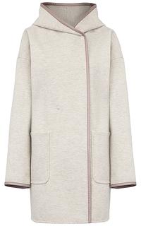 Полушерстяное пальто с отделкой из экокожи Pompa