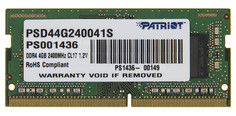 Модуль памяти Patriot Memory DDR4 SO-DIMM 2400MHz PC4-19200 CL17 - 4Gb PSD44G240041S