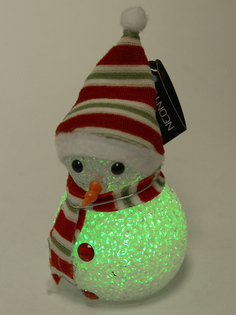 Новогодний сувенир Neon-Night Снеговик 17cm LED RGB 513-018