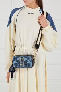Кожаная сумка с бархатом Snapshot голубая Marc Jacobs
