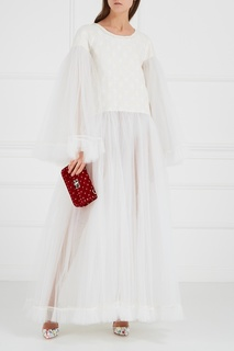Белое платье из жаккарда с фатином Ivka