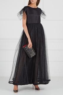 Черное платье из шелка с фатином Ivka