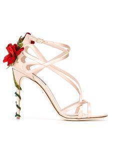 босоножки с отделкой в виде плетистой розы Dolce & Gabbana
