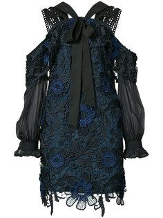 кружевное платье с открытыми плечами Self-Portrait