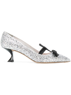 туфли с бантом и блестящей отделкой Miu Miu