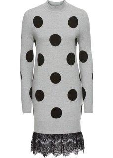 Платье вязаное с кружевным подолом (светло-серый меланж/черный) Bonprix