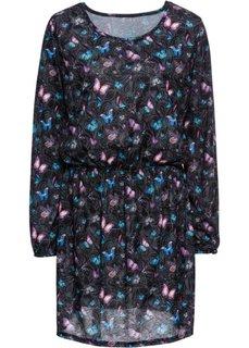 Трикотажное платье с цветочным рисунком (черный с рисунком) Bonprix