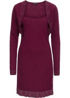 Платье вязаное с люрексом и воланом (красная ягода/серебристый) Bonprix