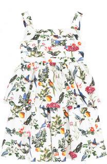 Платье с принтом на тонких бретельках Oscar de la Renta