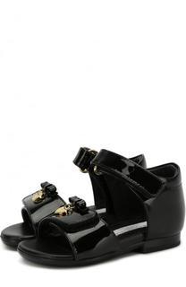 Лаковые босоножки с застежками велькро с бантами Dolce & Gabbana