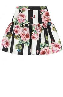 Юбка из хлопка и шелка с принтом Dolce & Gabbana