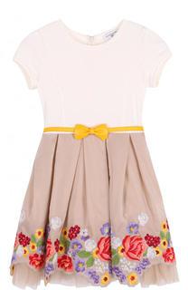 Комбинированное платье с вышивкой и ассиметричным подолом Monnalisa
