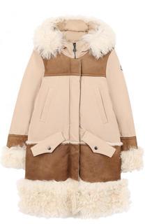 Пуховое пальто с капюшоном и меховой отделкой Moncler Enfant