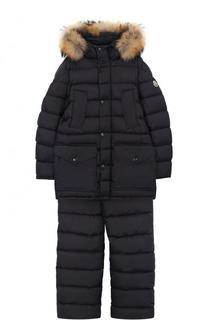 Пуховый комплект из комбинезона и куртки с капюшоном Moncler Enfant