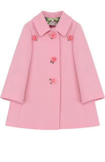 Шерстяное пальто с цветочным декором Dolce & Gabbana