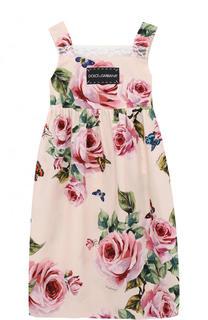 Хлопковое платье с принтом и кружевной отделкой Dolce & Gabbana
