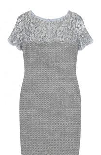 ab9b830fb75 Приталенное буклированное платье-миди с кружевной вставкой St. John  шерстяные
