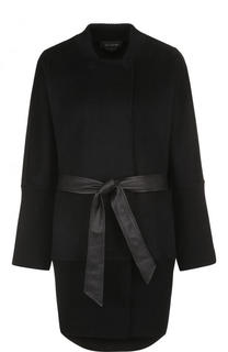 Шерстяное однотонное пальто с поясом St. John