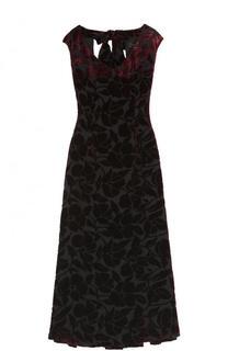 Бархатное платье-миди с V-образным вырезом St. John
