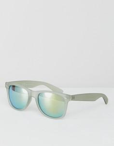 Зеленые квадратные солнцезащитные очки с зеркальными стеклами River Island - Зеленый