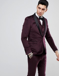 Бархатный пиджак-смокинг узкого кроя Rudie - Красный