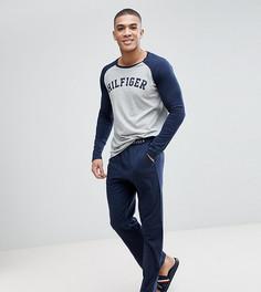 2e3f14a8b29c0 Темно-синий/серый пижамный комплект из топа с рукавами реглан и трикотажных  штанов Tommy