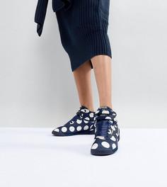 Высокие кроссовки в крупный горошек ASOS WHITE x Reebok Freestyle - Темно-синий