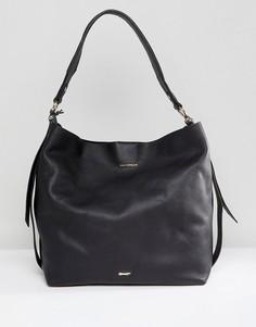 Черная кожаная сумка на плечо Paul Costelloe - Черный
