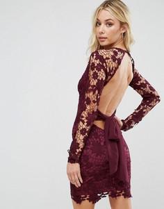 Кружевное платье мини с открытой спиной Boohoo - Фиолетовый