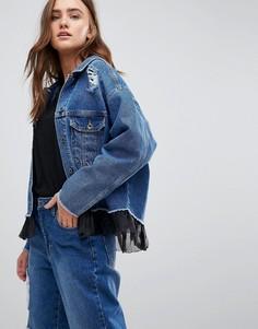 Джинсовая оверсайз-куртка с сетчатой оборкой Kubban - Синий