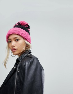 Розовая шапка-бини оверсайз с отворотом и помпоном Helene Berman - Розовый