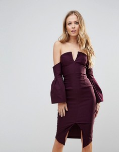Платье-футляр с широким вырезом и пышными рукавами Vesper - Фиолетовый