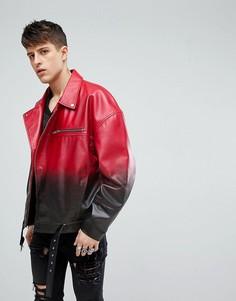 Байкерская кожаная куртка свободного кроя ASOS - Красный