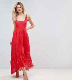Платье миди с оборкой на подоле ASOS TALL - Красный