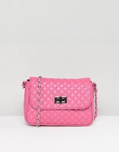 Стеганая сумка через плечо c замочком ASOS - Розовый