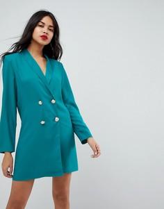 Платье мини с пуговицами из искусственного жемчуга ASOS ULTIMATE - Зеленый