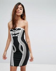 Облегающее бандажное платье с контрастной отделкой Love & Other Things - Черный