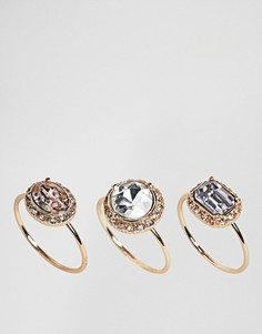 Набор тонких колец с камнями ALDO - Золотой