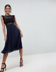 Кружевное платье миди с кружевными рукавами ASOS - Темно-синий