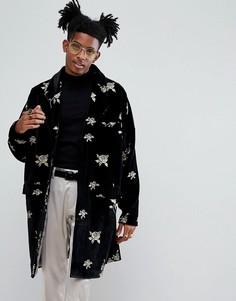 Легкое бархатное пальто с вышивкой Noose & Monkey - Черный