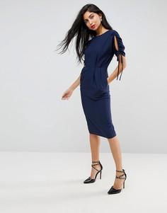 Платье-футляр миди со сборками и вырезами ASOS - Темно-синий