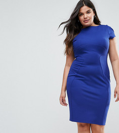 Платье-футляр с присборенными короткими рукавами Closet London Plus - Синий