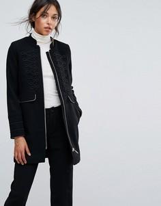 Удлиненное пальто в стиле милитари Esprit - Черный