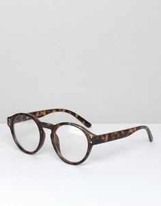 Круглые черепаховые очки с прозрачными стеклами AJ Morgan Lloyd - Коричневый